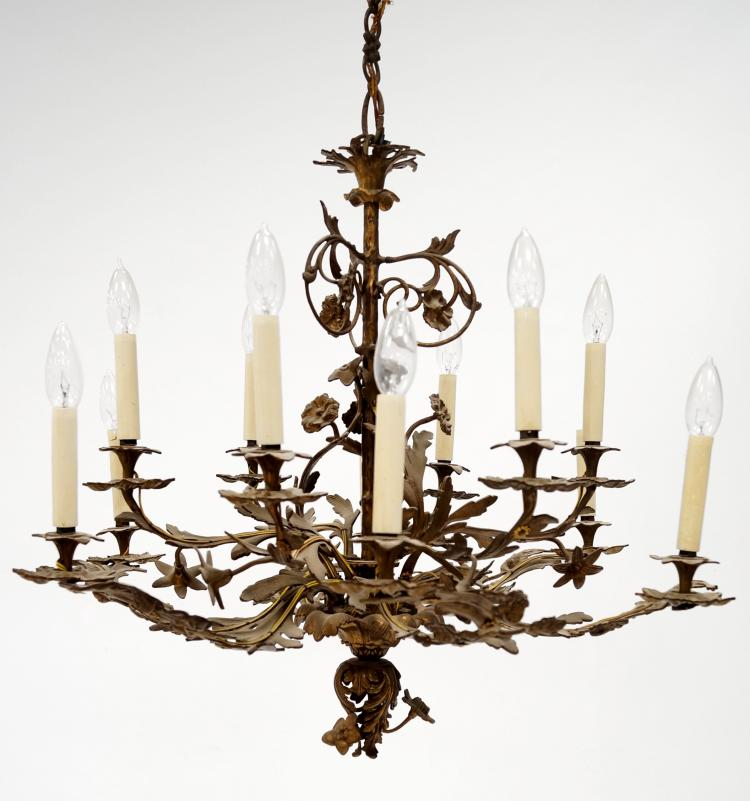 FRENCH STYLE BRASS 12-ARM CHANDELIER. HEIGHT 26