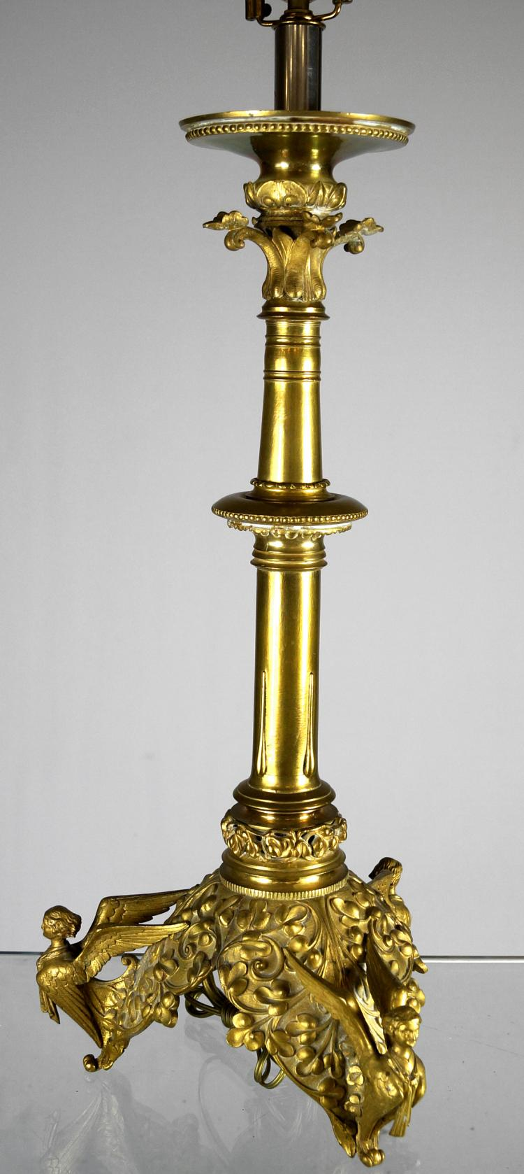 VICTORIAN BRASS CANDLESTICK/TABLE LAMP. HEIGHT 39