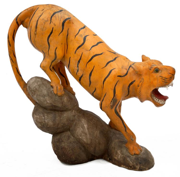 Charles Livingston Bull (American 1874-1932) FOLK ART CARVED TIGER