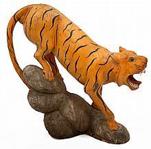 Charles Livingston Bull (American 1874-1932) FOLK ART CARVED TIGER