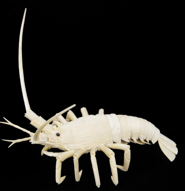 CHINESE CARVED BONE ARTICULATED LOBSTER