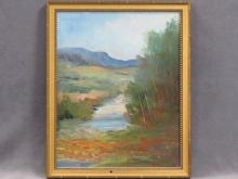 """WINNIFRED COMPTON (AMERICAN 20TH CENTURY) OIL ON CANVAS BOARD, NEW HAMPSHIRE/MAINE SUMMER LANDSCAPE, SIGNED. 20 X 16""""; FRAMED 22 X 18"""""""