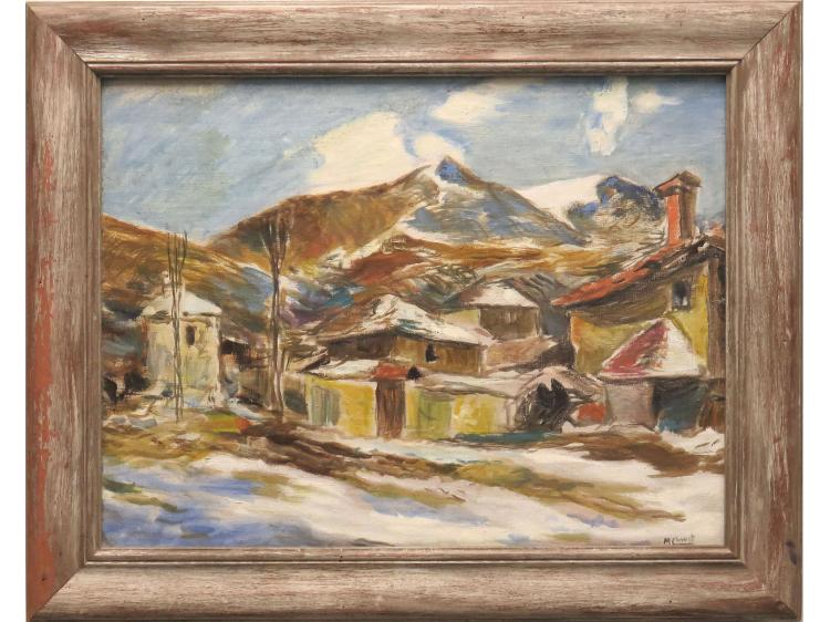 MOLLI CHWAT (RUSSIAN/FRENCH 1888-1979), OIL ON CANVAS, MOUNTAIN VILLAGE, SIGNED. 16 X 21