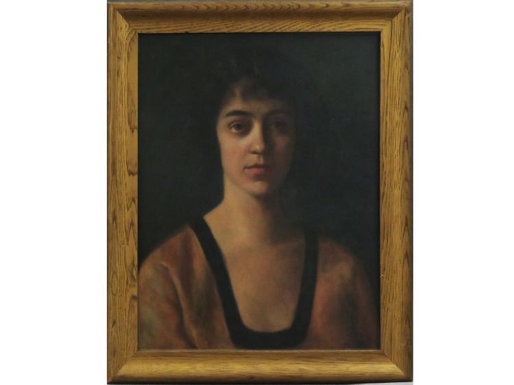 HARRIETTE M. LANDON (AMERICAN 1896-1977), OIL ON CANVAS UNDER GLASS,