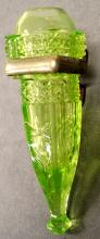 ANTIQUE VASELINE URANIUM PATTERN GLASS CAR VASE WITH MOUNT. LENGTH 7 1/2