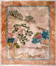 CHINESE CARVED LANDSCAPE CARPET. 8 X 10'