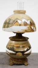 VICTORIAN GONE-WITH-THE-WIND OIL LAMP, ELECTRIFIED. HEIGHT 16
