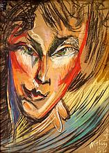 STANISLAW IGNACY WITKIEWICZ (POLAND 1885-1939), PASTEL ON PAPER LAID ON ARTIST BOARD, UNTITLED PORTRAIT, SIGNED, 1933 (WITH NOTATIONS). SIGHT 22 1/2 X 16 1/2