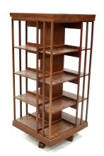 ARTS AND CRAFTS STYLE MAHOGANY REVOLVING BOOKCASE. HEIGHT 61