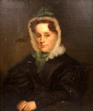 AMERICAN SCHOOL (19TH CENTURY), OIL ON CANVAS LAID ON BOARD, PORTRAIT OF A WOMAN, UNSIGNED. 30 1/2 X 25