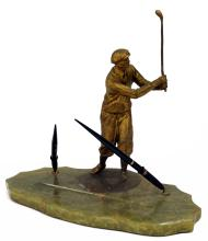 GILT METAL GOLFER DESK PEN HOLDER/TRAY ON ALABASTER BASE. HEIGHT 14