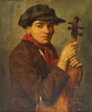 EUROPEAN SCHOOL (19/20TH CENTURY), OIL ON CANVAS, YOUNG MAN WITH VIOLIN, SIGNED. 23 1/2 X 19 1/2
