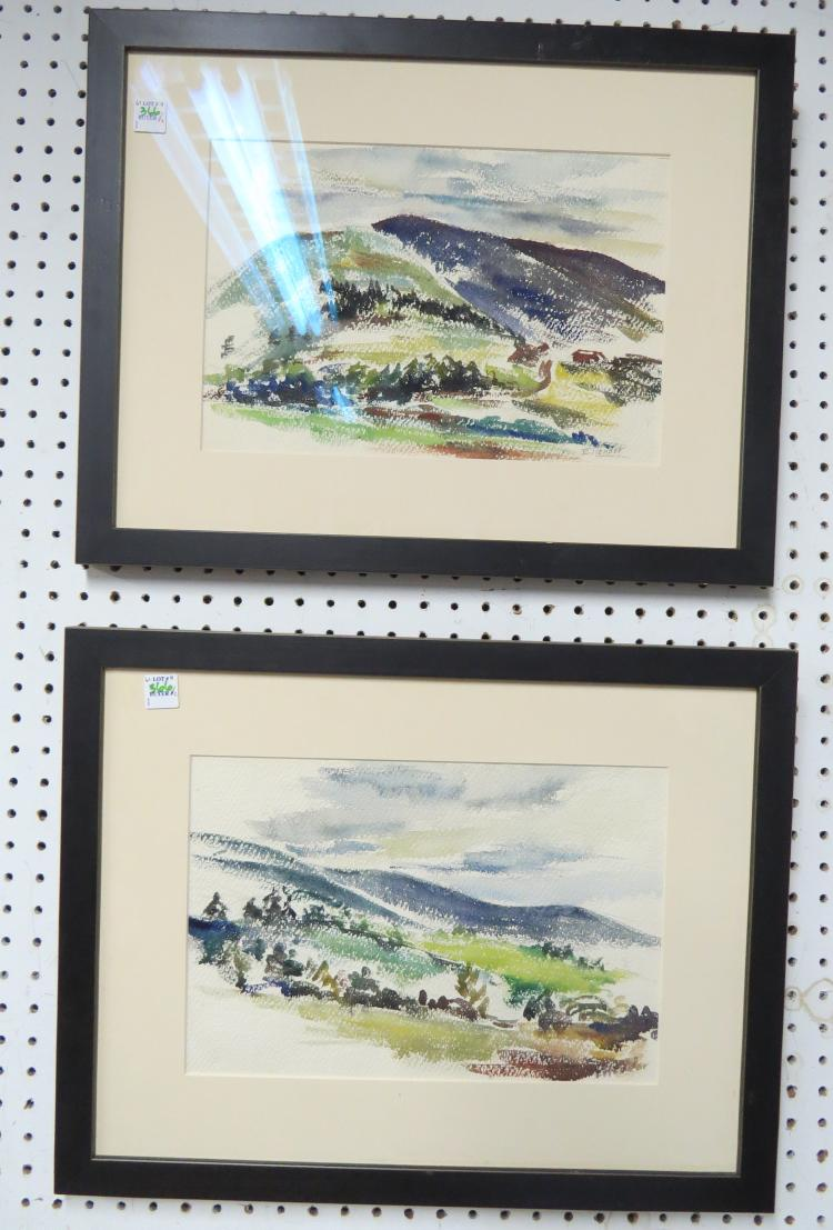 RAPHAEL ELLENDER (AMERICAN/NY 1906-1972), LOT (2) WATERCOLOR, LANDSCAPES, SIGNED. SIGHT 9 1/2 X 14 1/4