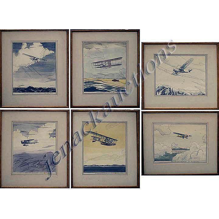 WAYNE DAVIS (AMERICAN 1904-1988), SET (6) HAND