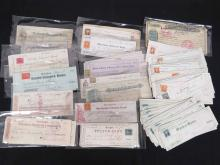 LOT (100+) ASSORTED CANCELLED CHECKS, 1858-1889