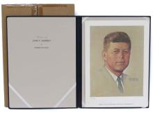 JOHN F. KENNEDY, PRESIDENTIAL PORTRAIT PRINT BY NORMAN ROCKWELL, LIMITED EDITION FOLIO DRIOGRAPH PRINT, PUBLISHED BY AMERICAN HERITAGE GRAPHICS, 1976, #2197/2500 WITH RIGID FOLIO AND ORIGINAL MAILER (FOLIO IMPERFECT)