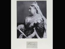 QUEEN VICTORIA (ENGLISH MONARCH 1819-1901), INK SIGNATURE ON PAPER CUT. APPROXIMATELY 2 X 3