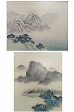DAVID LEE (CHINA/HAWAII 1944-), LOT (2) PRINTS, MT. LANDSCAPES, SIGNED '78. FRAMED AND GLAZED-24 X 28 1/2