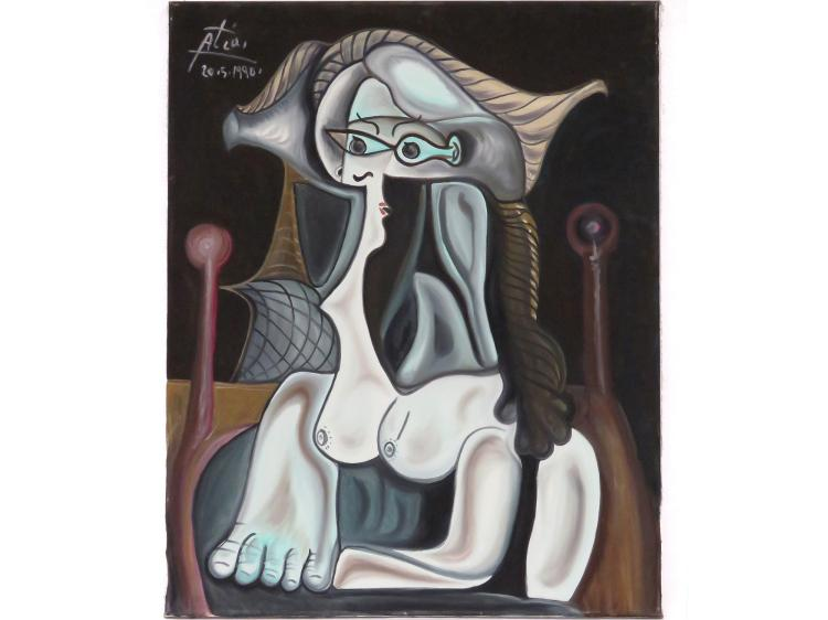 HASSAN ATIA (GERMAN 1953-), OIL ON CANVAS, UNTITLED-ABSTRACT FEMALE, SIGNED 5.20.1990. 39 1/2 X 31