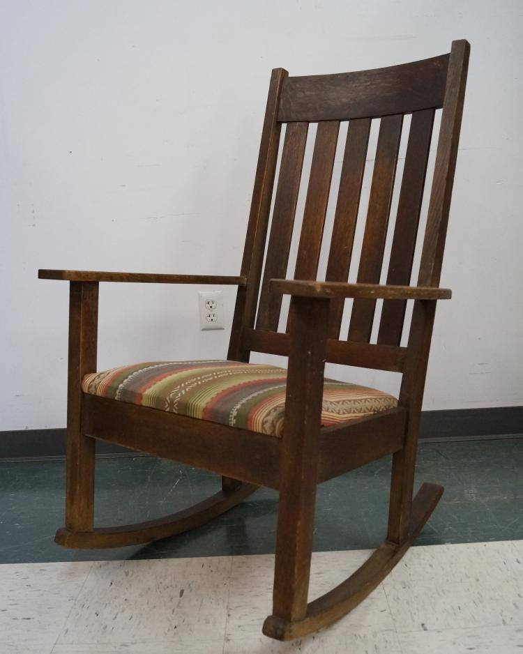 Antique Rocking Chair Styles ~ Antique stickley limbert style oak rocking chair with uphols