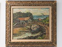 ANDREW WINTER (AMERICAN 1893-1958), OIL ON CANVAS, MAINE SAWMILL, SIGNED. 22 X 26