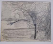 RUSSIAN SCHOOL (20TH CENTURY), GRAPHITE ON PAPER, LANDSCAPE, SIGNED (IN CYRILLIC). SHEET 7 5/8 X 9 1/8
