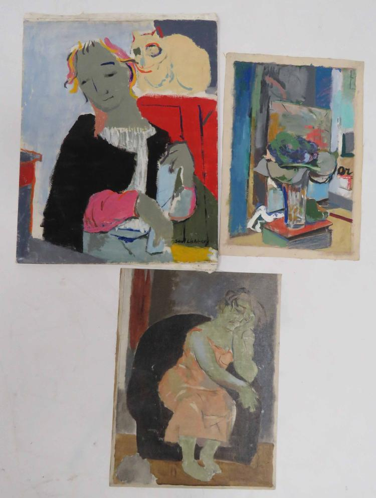 SAUL LISHINSKY (AMERICAN 1922-), LOT (3) OIL ON CANVAS INCLUDING WOMAN WITH CAT, FIGURE STUDY AND STILL LIFE, 1/SIGNED. 10 X 15