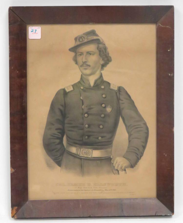 CURRIER & IVES LITHOGRAPH, COLONEL ELMER ELSWORTH, 1ST REGT NY FIRE ZOUAVES, 19TH CENTURY. FRAMED AND GLAZED-17 1/2 X 13 1/2