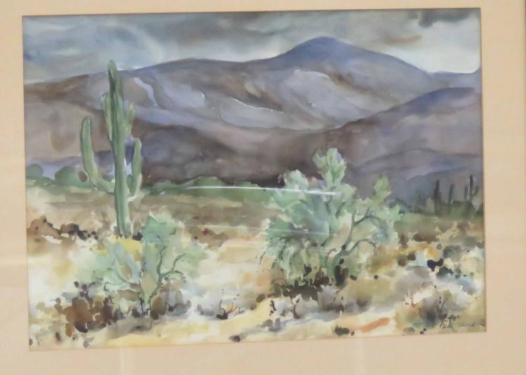BETTY HERNDON (AMERICAN 20TH CENTURY), WATERCOLOR, HIGH PLAINS, SIGNED. SIGHT 13 1/2 X 19 1/2