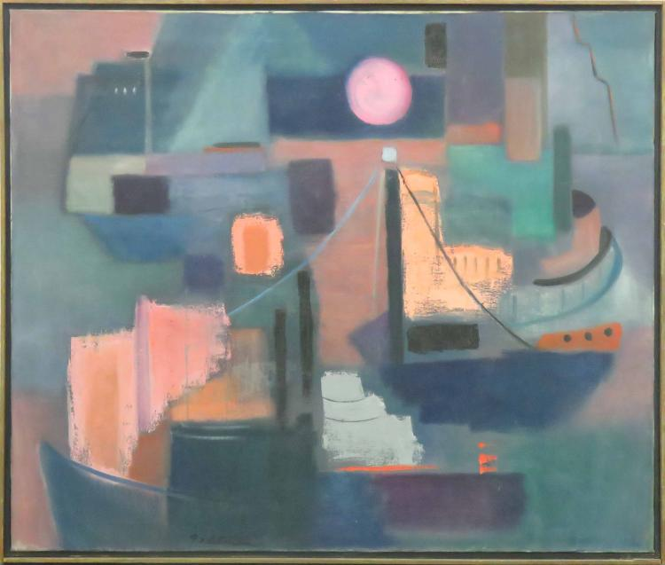 AMERICAN SCHOOL (20TH CENTURY), OIL ON CANVAS, SHIPS IN A HARBOR, SIGNED GELTMAN. FRAMED 31 X 37