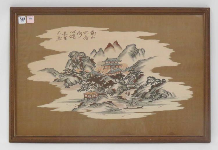 CHINESE KESSI WOVEN PANEL, LANDSCAPE. FRAMED AND GLAZED-18 1/2 X 27