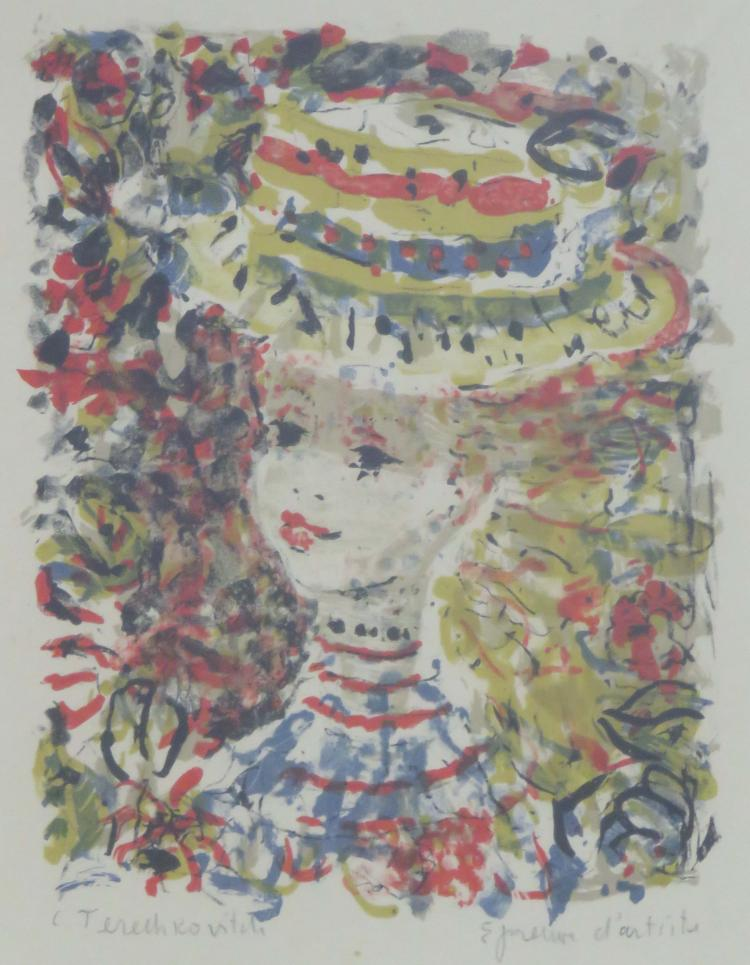 CONSTANTIN TERECHKOVITCH (RUSSIAN/FRENCH/AMERICAN 1902-1978), LITHOGRAPH, YOUNG WOMAN WITH HAT, SIGNED A/P. SIGHT 16 X 12