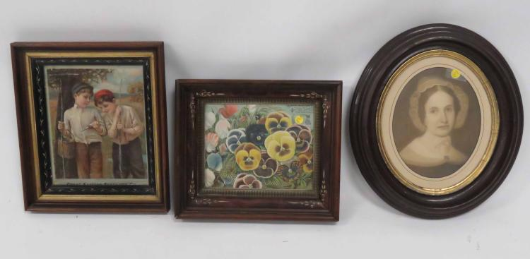 LOT (6) VICTORIAN CARVED WALNUT FRAMES. VARIOUS SIZES