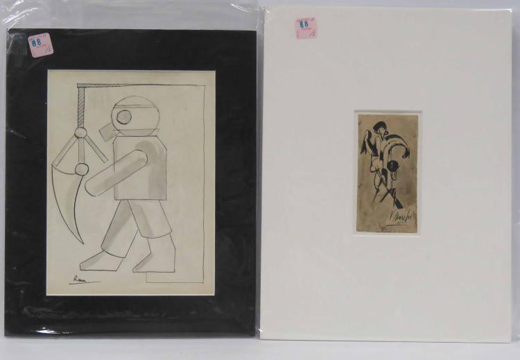 LOT (2) INCLUDING EUROPEAN SCHOOL (20TH CENTURY), INK AND WASH ON PAPER, CONSTRUCTIVIST FIGURE, BEARS ILLEGIBLE SIGNATURE, SHEET 11 X 8 1/4