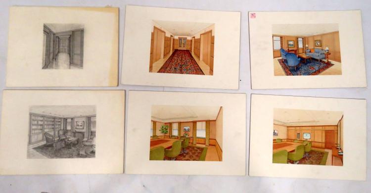 LOT (6) ARCHITECTURAL INTERIOR WATERCOLOR AND GOUACHE DESIGNS, 20TH CENTURY. 15 X 22