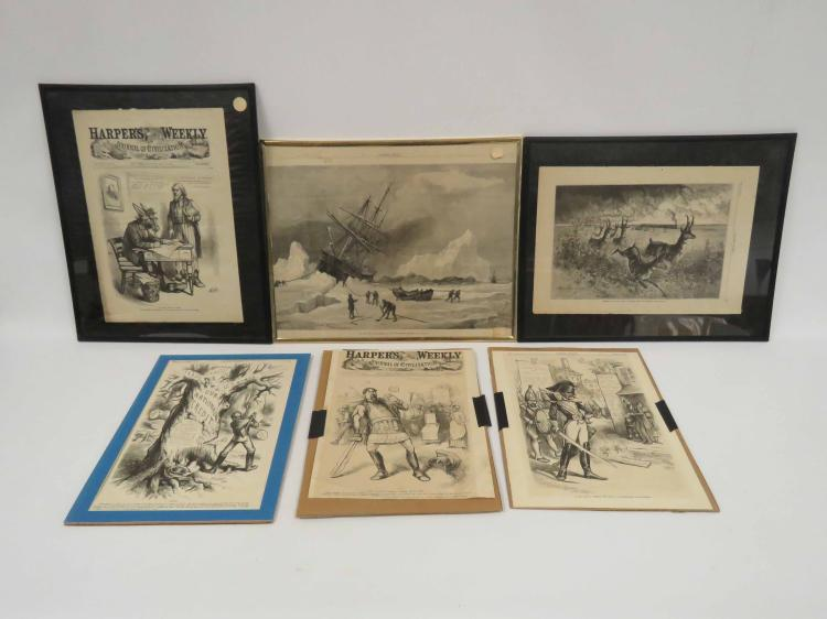 LOT ASSORTED HARPER'S WEEKLY WOOD ENGRAVINGS, 19TH CENTURY