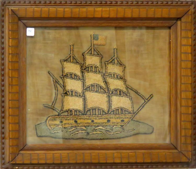 AMERICAN SCHOOL (19/20TH CENTURY), HOOKED WORK ON LINEN, SAILING SHIP. FRAMED AND GLAZED-22 1/2 X 26 1/2