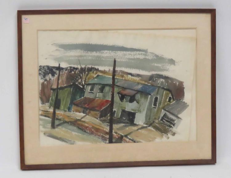 AMERICAN SCHOOL (20TH CENTURY), WATERCOLOR, FACTORY BUILDING, SIGNED HENRY '61. SIGHT 20 1/2 X 28 1/2