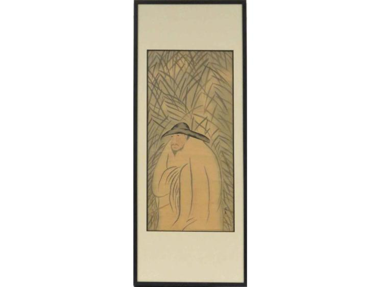 CHINESE SCHOOL (18/19TH CENTURY), WATERCOLOR ON SILK, FIGURE AMONG BAMBOO, SIGNED/SEALED. 38 X 17 1/2