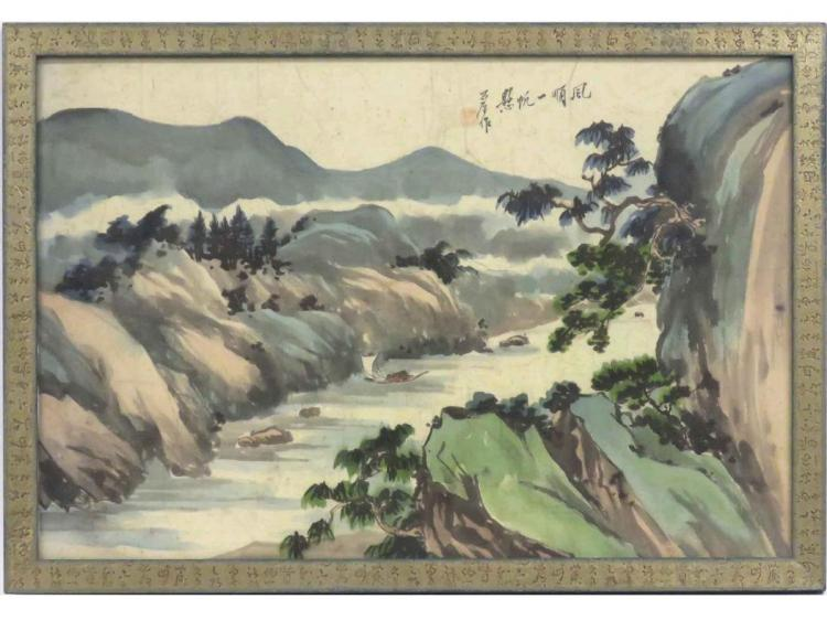 CHINESE SCHOOL (20TH CENTURY), WATERCOLOR ON FABRIC, RIVER LANDSCAPE, SIGNED. SIGHT 17 3/4 X 26