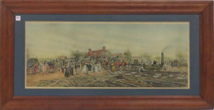 EDWARD LAMSON HENRY (AMERICAN 1841-1919), HAND COLORED LITHOGRAPH,