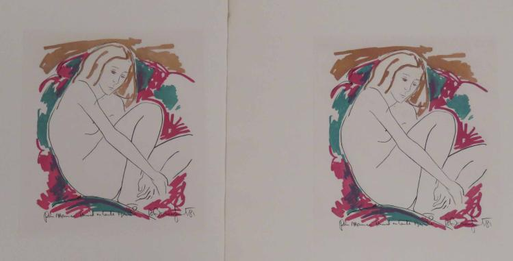LOT (7) COLOR ETCHINGS, NUDES, SIGNED AND INSCRIBED WITH PICASSO FOLIO