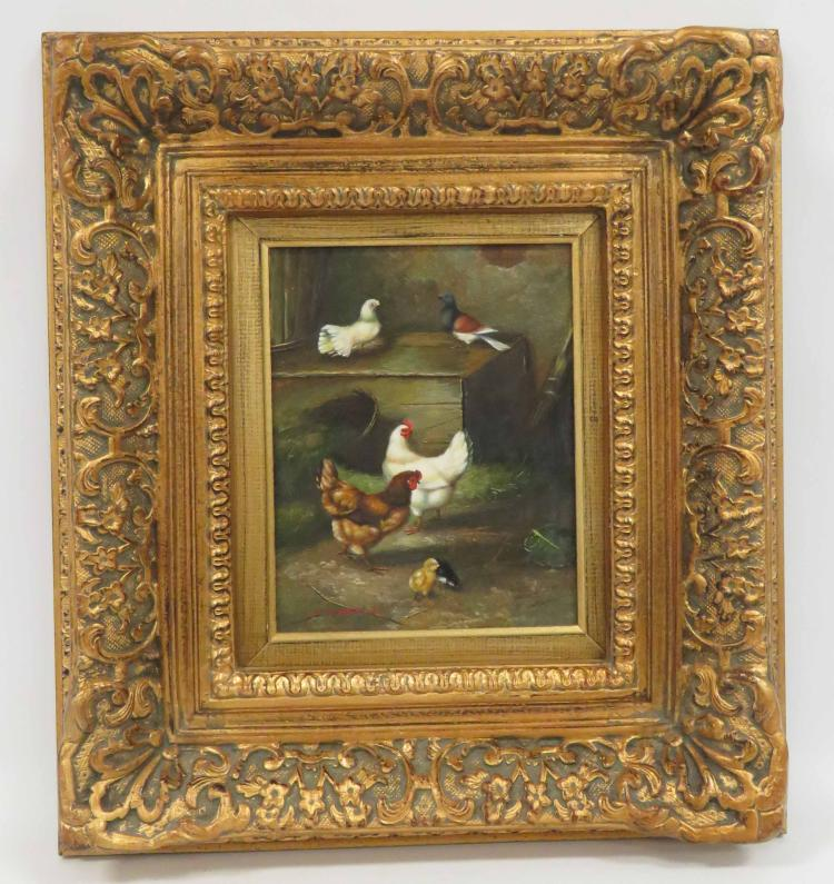 CONTINENTAL SCHOOL (20TH CENTURY), OIL ON PANEL, CHICKENS & PIGEONS, SIGNED ILLEGIBLY. 10 X 8