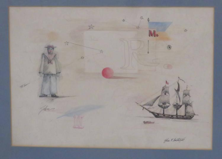 JOHN LOCHTEFELD (AMERICAN 20TH CENTURY), INK, WATERCOLOR AND CRAYON, NAUTICAL SKETCH, UNTITLED, SIGNED. SIGHT 10 1/4 X 15