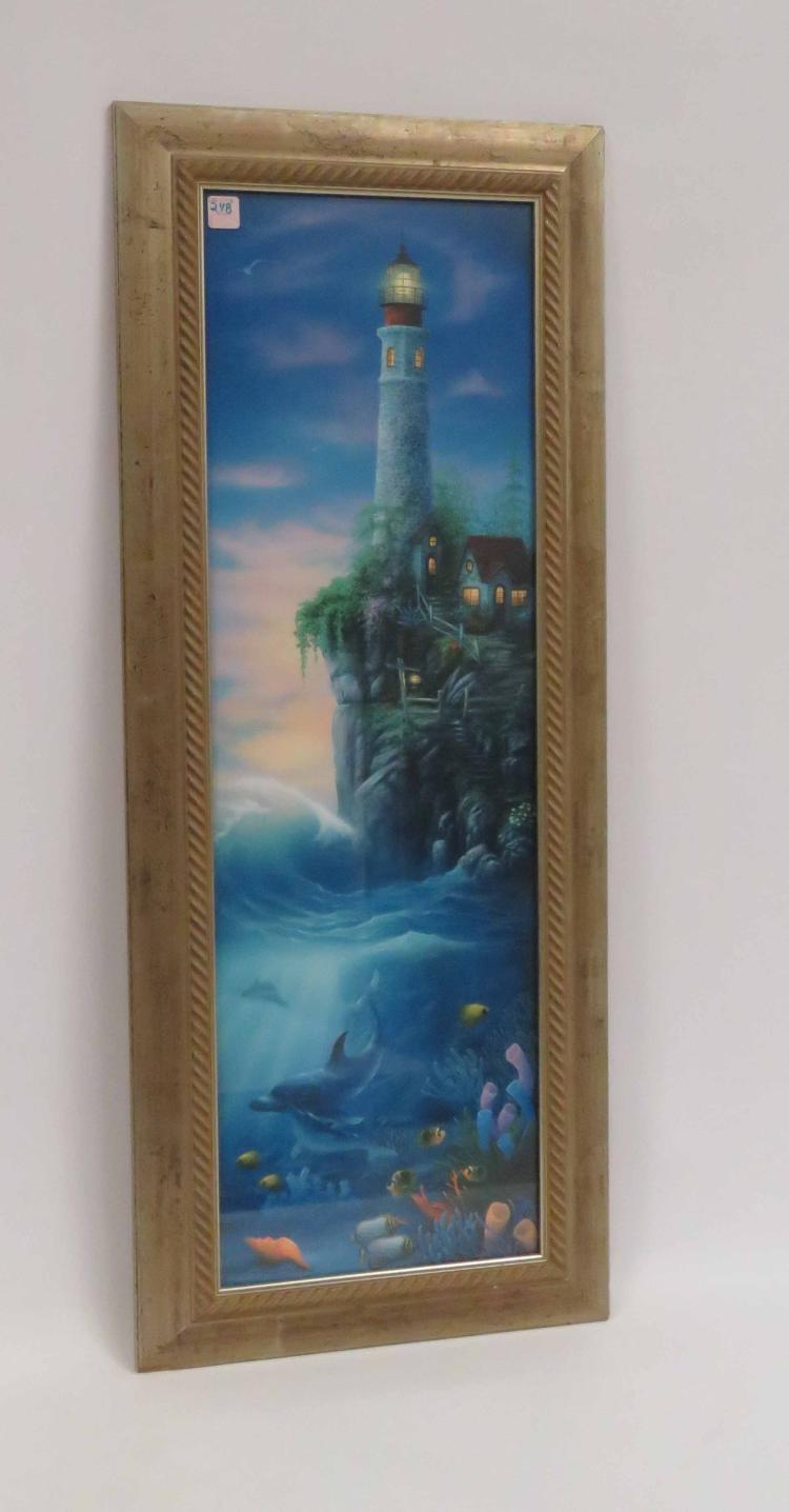 DAVID MILLER (AMERICAN 20TH CENTURY), OFFSET LITHOGRAPH, LIGHTHOUSE, SIGNED (IN PLATE). SIGHT 35 X 11