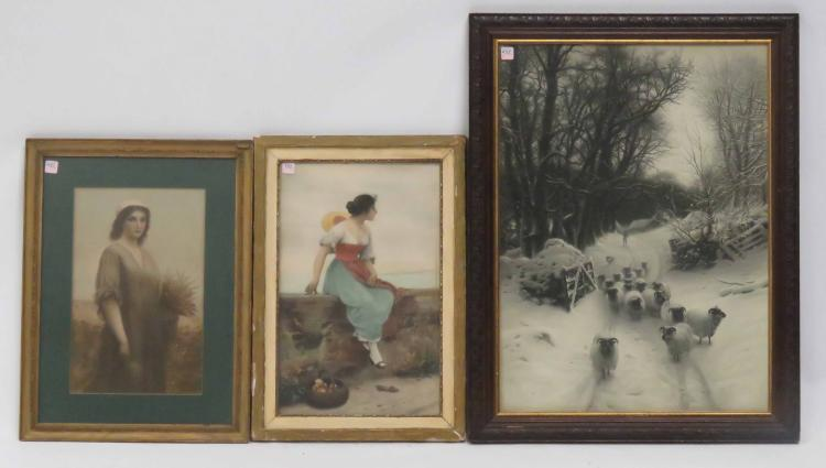 LOT (3) PRINTS INCLUDING WOMAN HARVESTING WHEAT, SHEEP IN SNOW AND WOMAN ON STONE WALL. FRAMED AND GLAZED