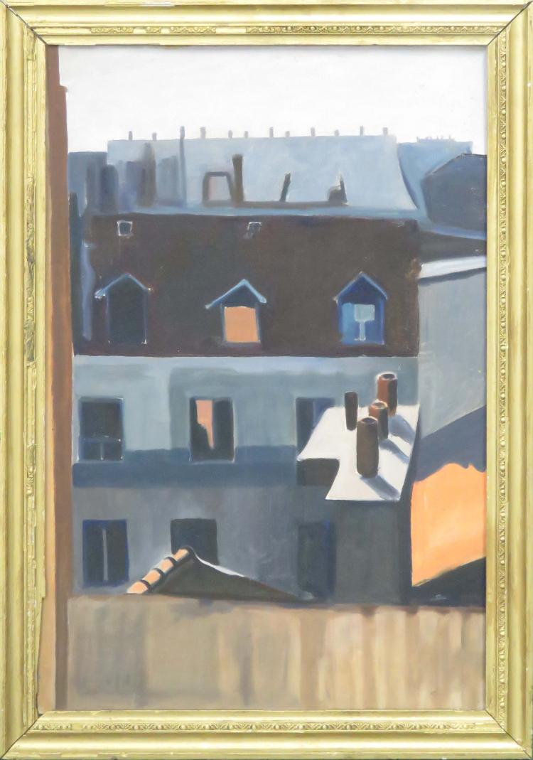 HENRY TROY (AMERICAN 1905-2001), OIL ON CANVAS BOARD, ROOFTOPS, SIGNED VERSO. FRAMED 34X 24