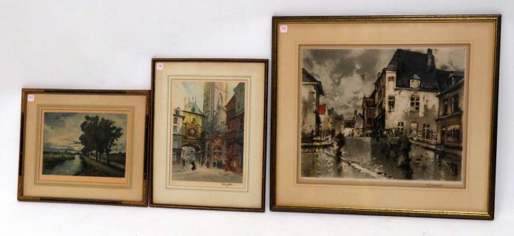 CONTINENTAL SCHOOL (20TH CENTURY), LOT (3) INCLUDING (2) ETCHINGS/AQUATINTS, SIGNED EUGENE VETTER, FRAMED AND GLAZED-22 X 17