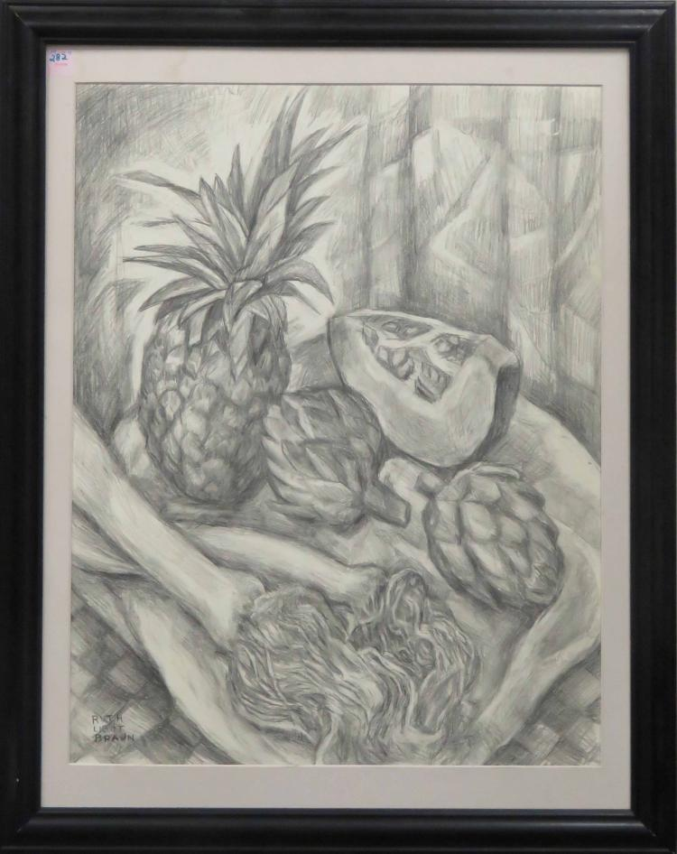 RUTH LIGHT BRAUN (AMERICAN 1906-2003), GRAPHITE ON PAPER, FRUIT AND VEGETABLES, SIGNED. SIGHT 24 1/2 X 19 1/4