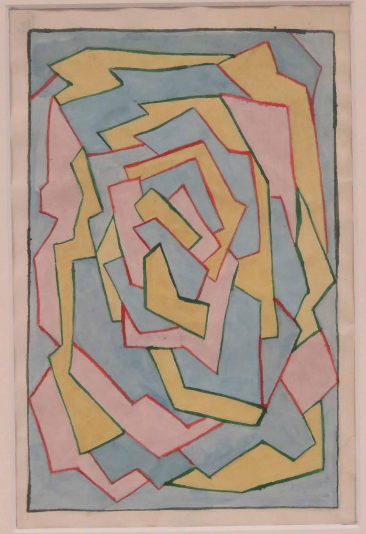 EUROPEAN SCHOOL (20TH CENTURY), INK & WATERCOLOR ON PAPER, UNTITLED ABSTRACT COMPOSITION, UNSIGNED. SHEET 9 X 6